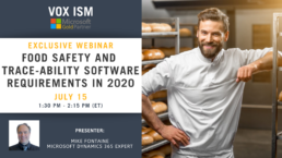 Food Safety and Trace-ability Software Requirements in 2020 - July 15 - Webinar VOX ISM