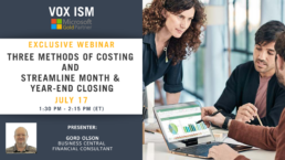 Three methods of costing and streamline month & year-end closing - July 17 - Webinar VOX ISM