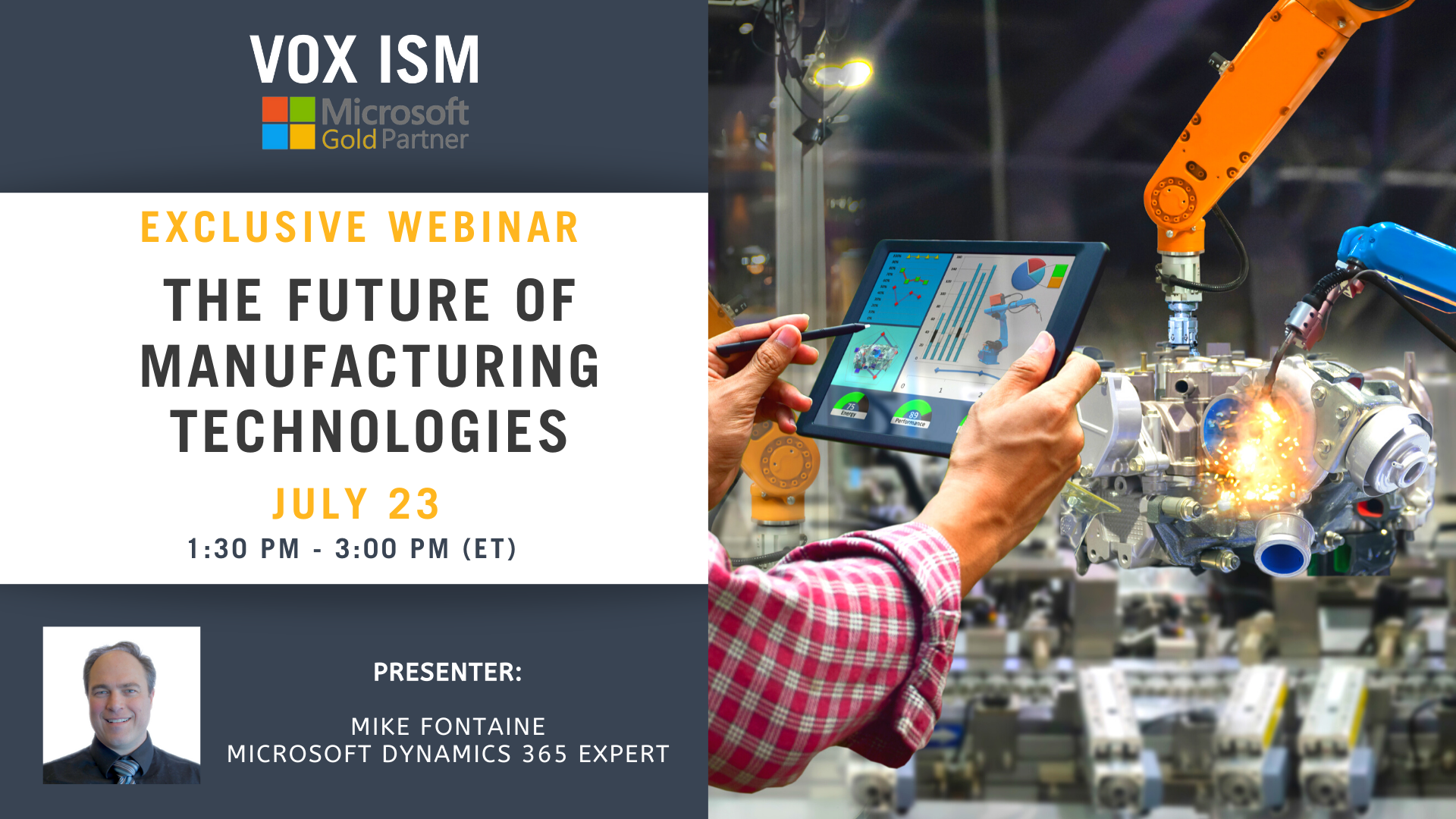 The Future Of Manufacturing Technologies - July 23 - Webinar VOX ISM