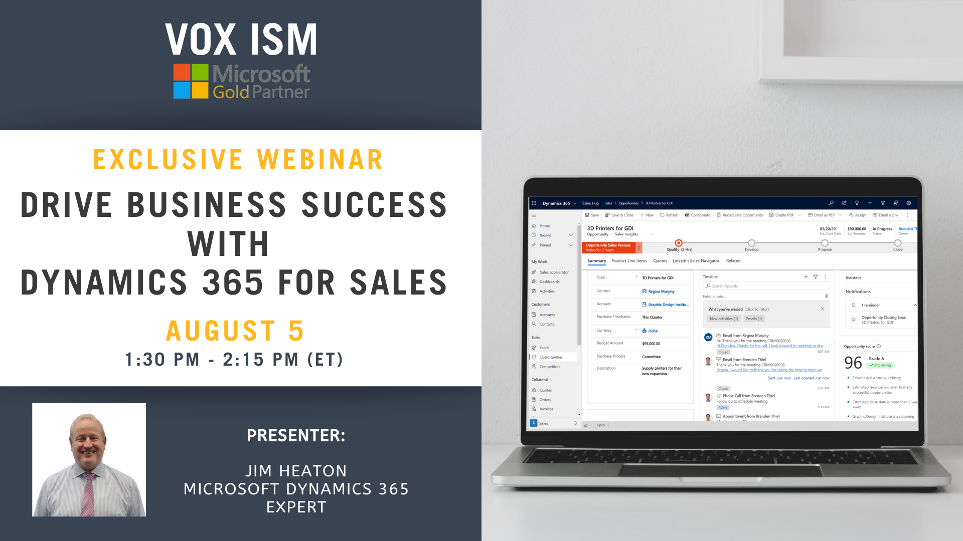 Drive Business Success with Dynamics 365 for Sales – August 5 – Webinar