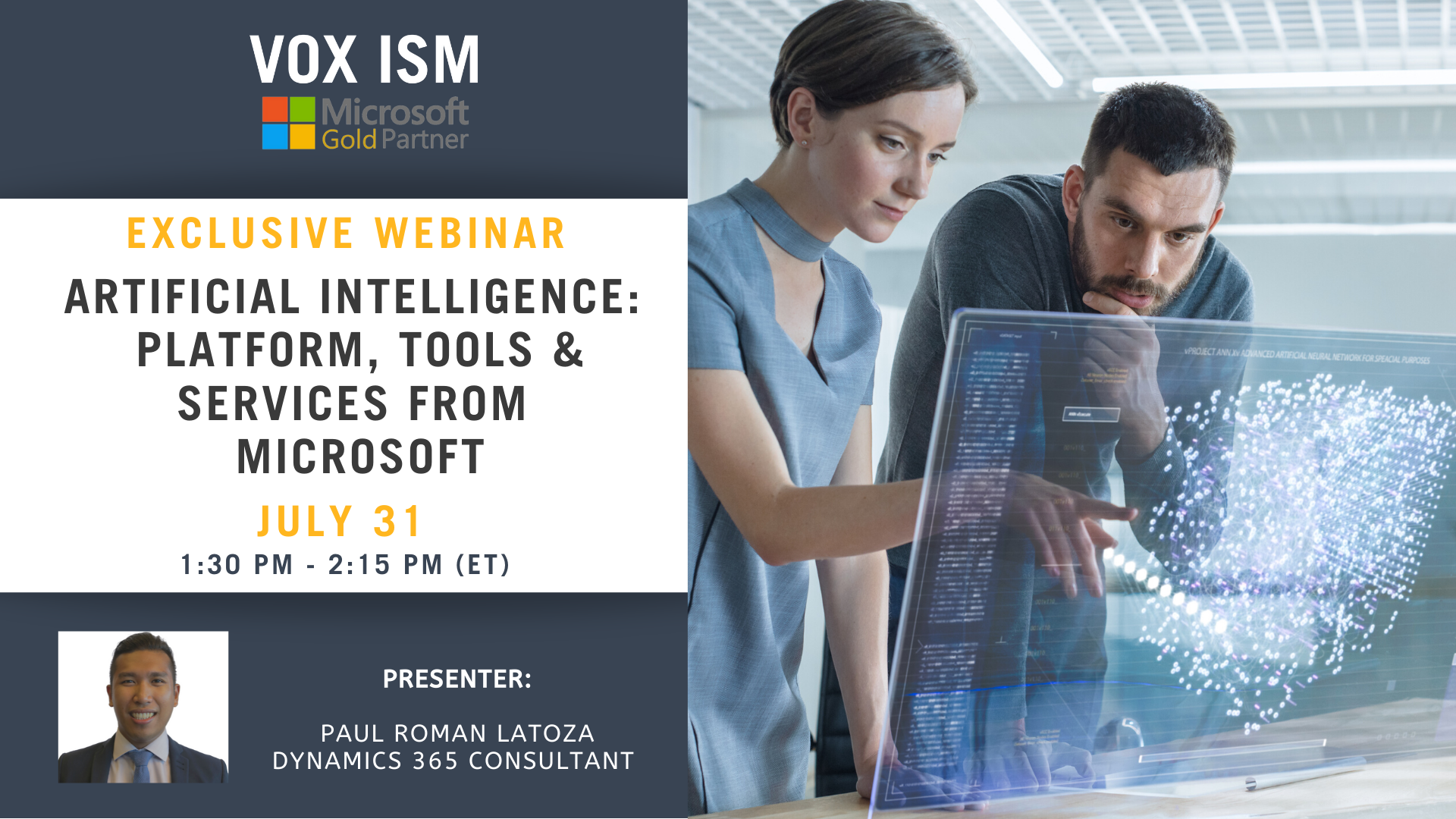 Artificial Intelligence: Platform, Tools & Services from Microsoft - July 31 - Webinar VOX ISM