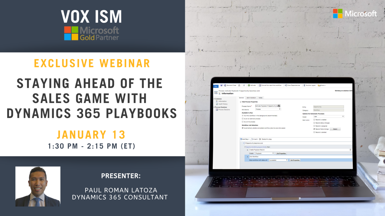 Staying ahead of the Sales Game with Dynamics 365 Playbooks - January 13 - Webinar