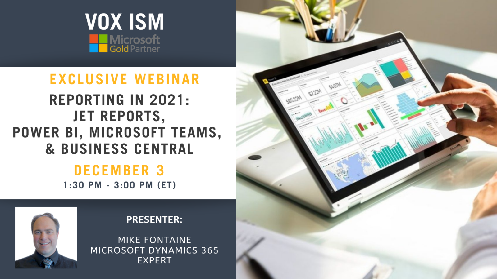 Reporting in 2021 (Jet Reports, Power BI, Microsoft Teams, and Business Central) - December 3 - Webinar