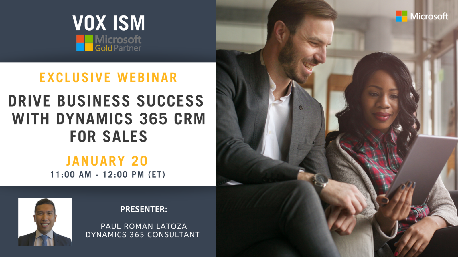 Drive business success with Dynamics 365 CRM for Sales - January 20 - Webinar
