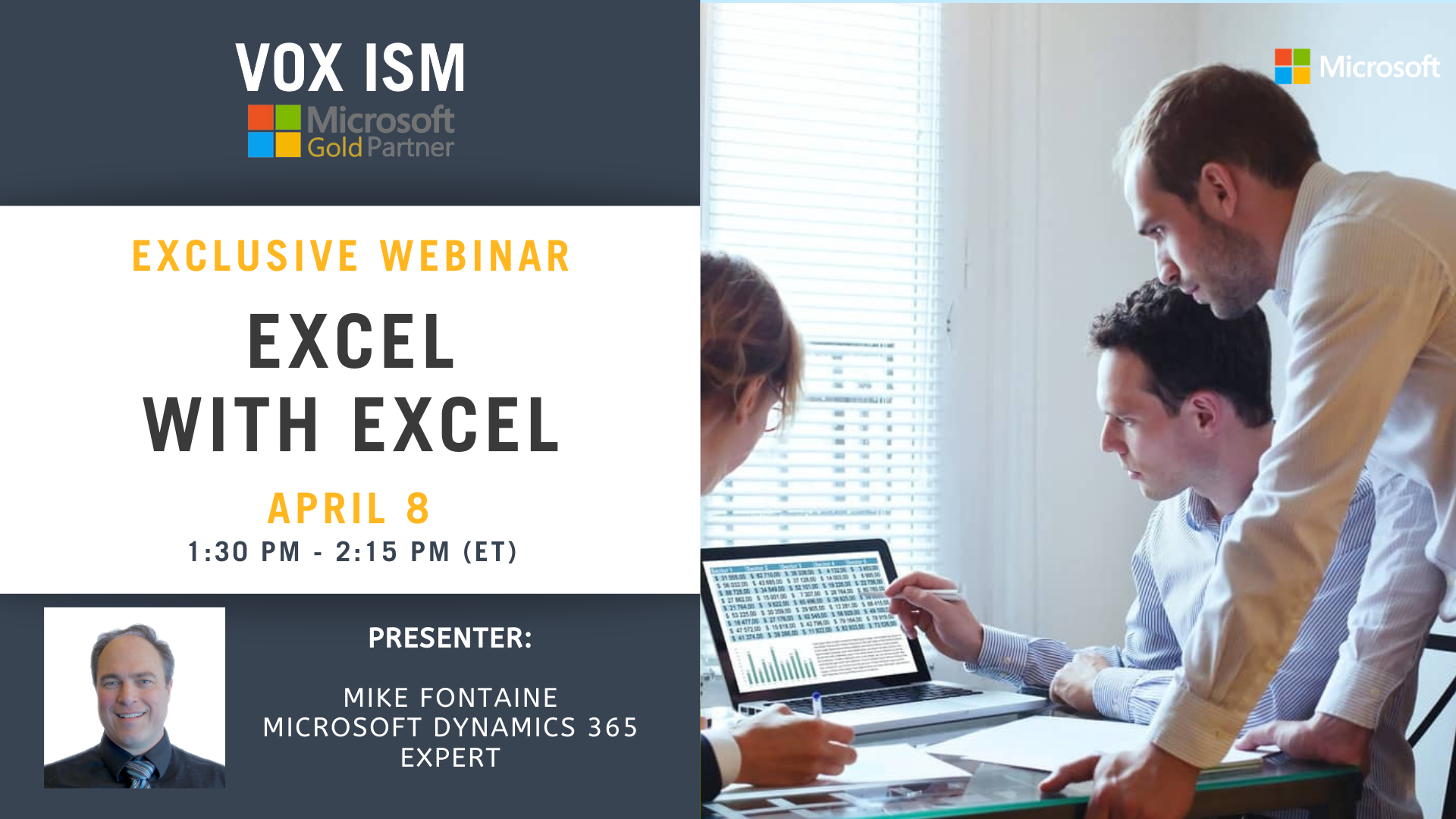 Excel with Excel - April 8 - Webinar
