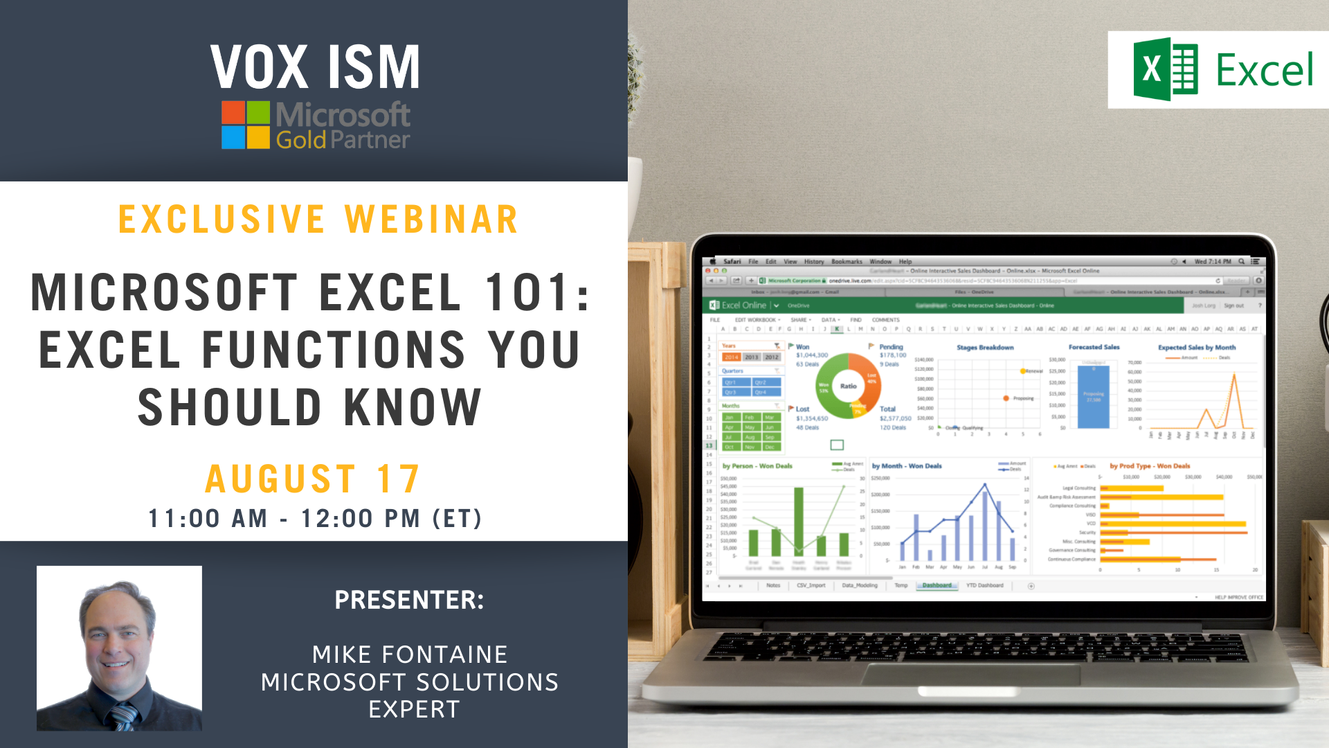 Microsoft Excel 101 - Excel Functions you should know - August 17 - Webinar