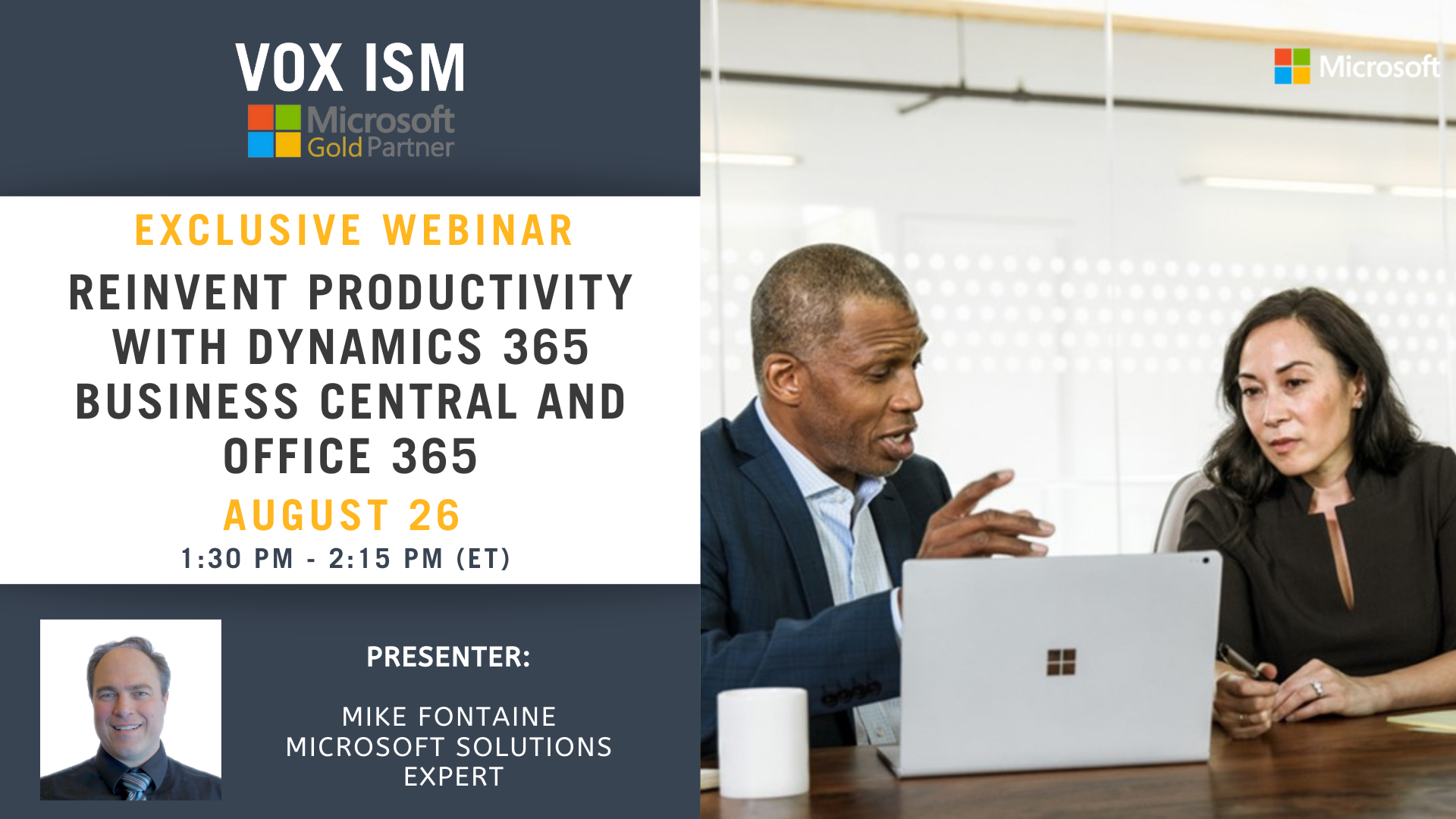 Reinvent Productivity with Dynamics 365 Business Central and Office 365 - August 26 - Webinar