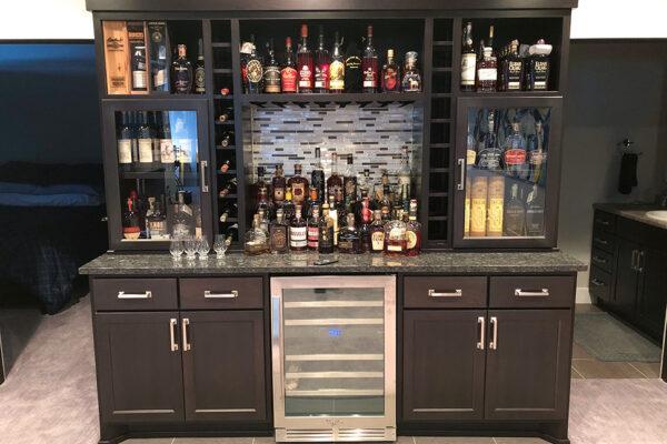 Custom Cabinetry Bourbon Bar Home Storage West Fargo, ND
