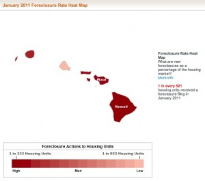 January 2011 Hawaii Foreclosure Heat Map