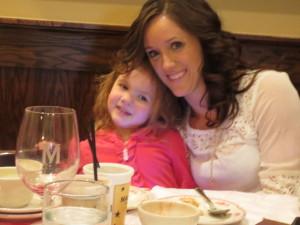 Sophia with Auntie Ade.