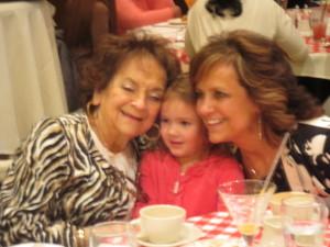 Sophia with Mimi and Gigi.