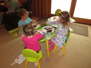 The girls loving the cake!