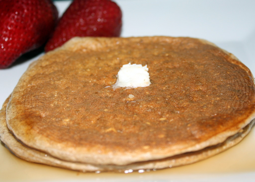 Oatmeal Protein Pancakes updated with strawberries