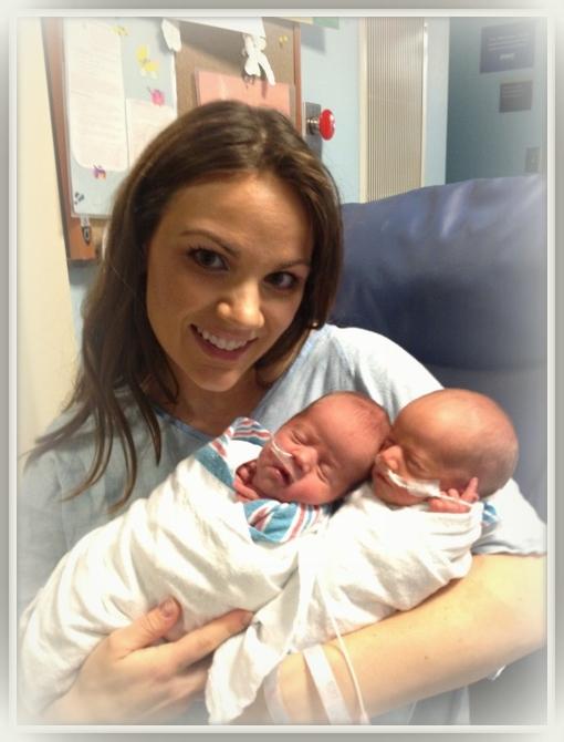 Mommy holding girls