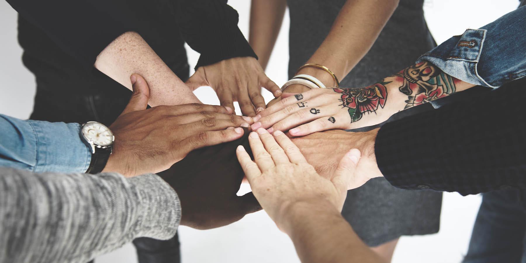 Hands Meeting in Center