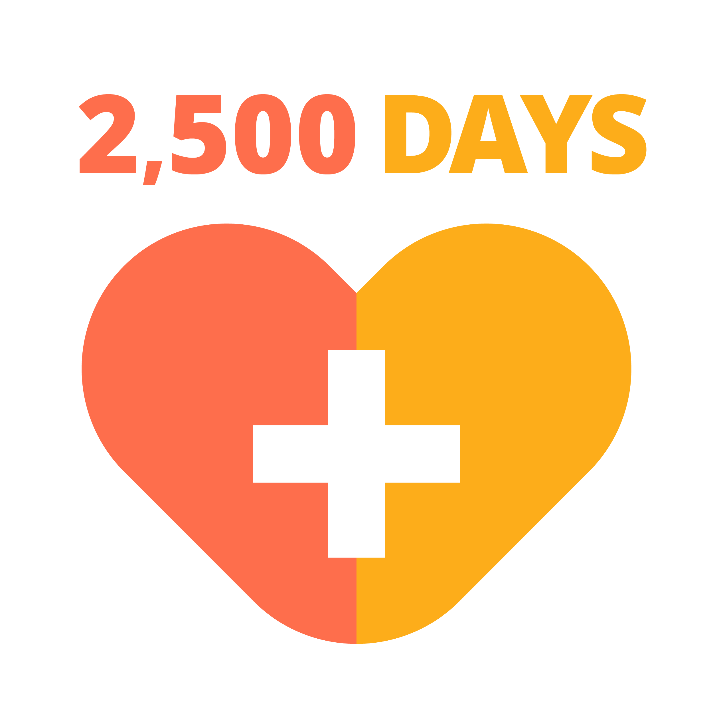 Heart with 2500 days
