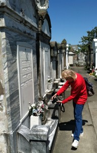Lisa at cemetery
