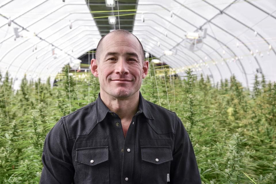 John Bayes pictured in Davis Farms Hemp Greenhouse for the Bhutan Glory project