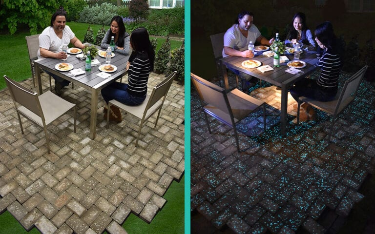 Day time and night time view of Glow Path Paver Patio