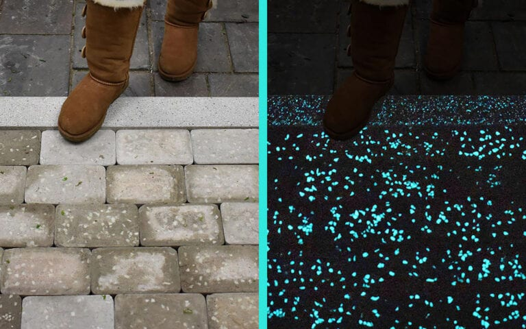Day & Night view while stepping onto Glow Path Pavers