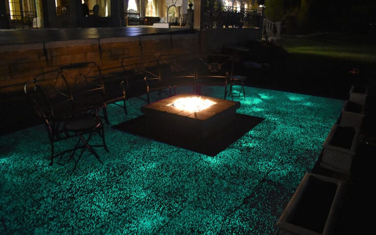 Glow Path Paver patio with a firepit