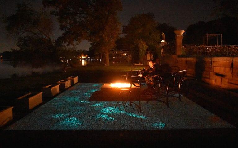 Glow Path patio at night