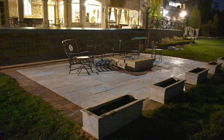 Glow Path Pavers patio with lights on