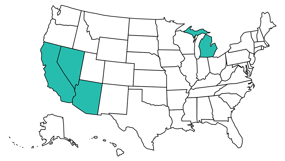 United States of America Glow Path Dealer map