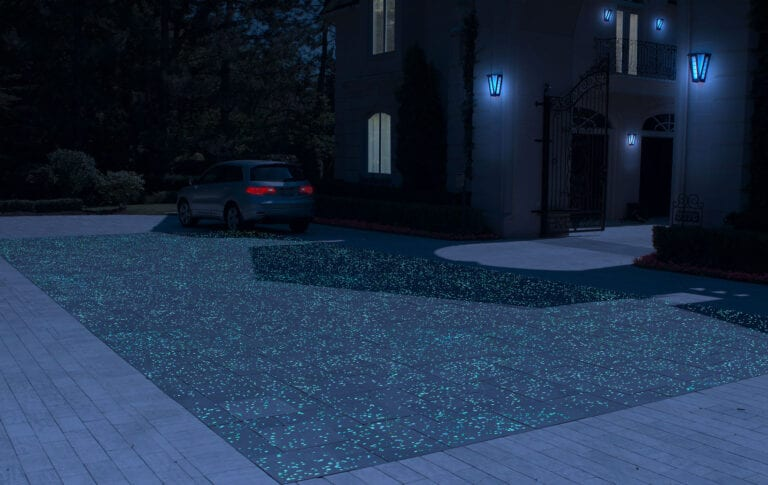 Driveway rendering showing off GlowPath Pavers at night
