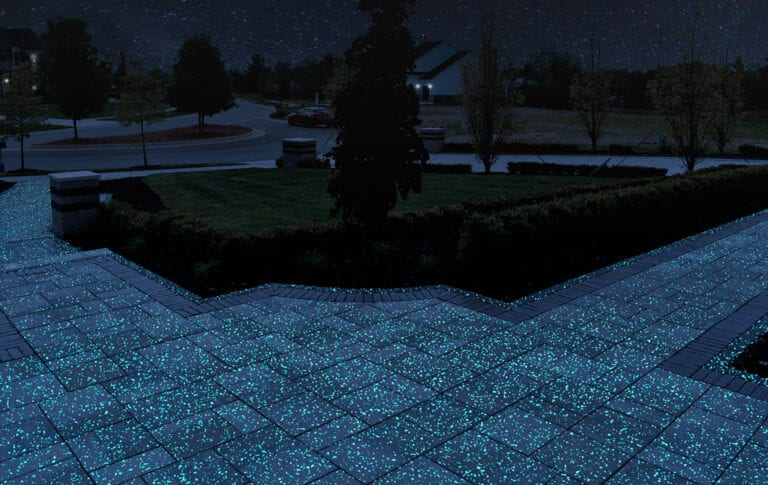 Pathway rendering showing off GlowPath Pavers at night