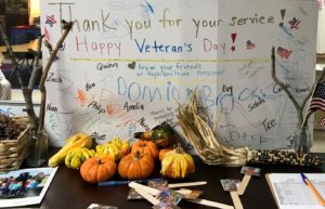 Thank you display for Veterans Day created by our students.