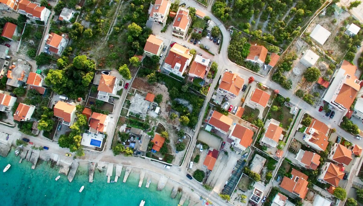 Birds eye view of neighborhood property insurance attorney