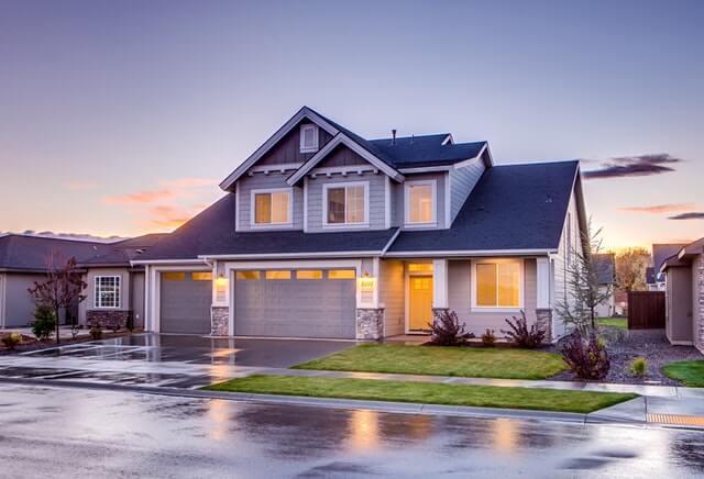 Rainy street and single family home