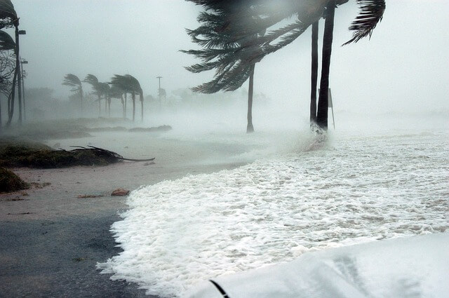 Storm surge from hurricane on beach