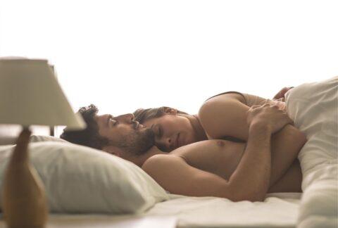 man and woman sleep
