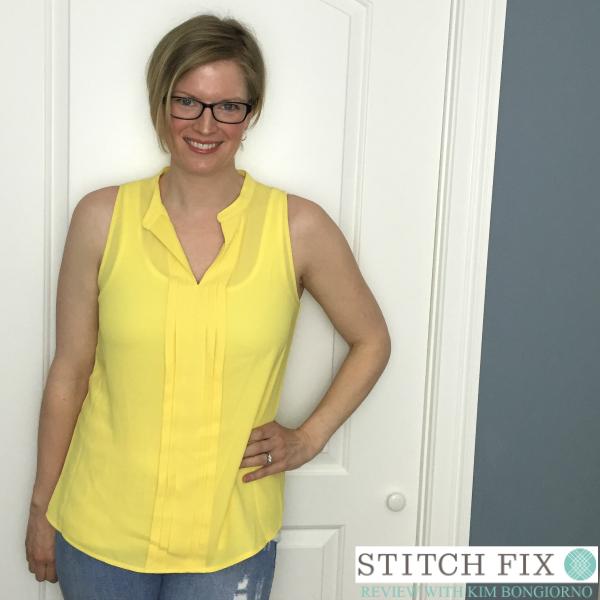 41Hawthorn Breyson Split Neck Pleated Sleeveless Blouse in Yellow Spring 2016 Stitch Fix Review with @letmestart | #stitchfix fashion and Stitch Fix Inspiration | yellow