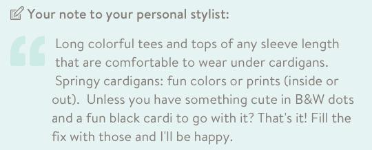 March Stitch Fix review note to stylist by Kim Bongiorno