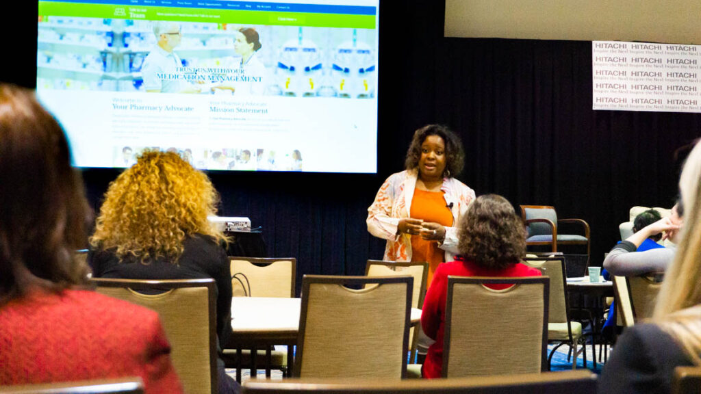 Speaker Dr. Jerrica Dodd, speaking at the LSWC2020 conference.