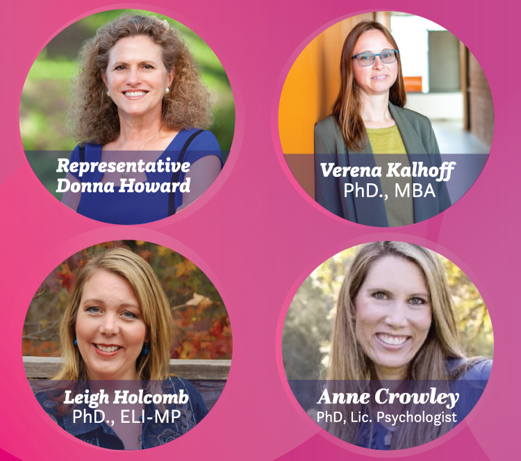 A pink banner featuring panelists Donna Howard, Dr. Verena Kallhoff, Dr. Leigh Holcomb and licensed psychologist Anne Crowley. All women are smiling brightly.