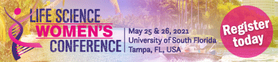Regustration is now open for the 2021 LIfe Science Women's Conference at Tampa, FL, the University of South Florida. This image showcases a beach, people in a boat on water, and the backdrop of Tampa's city with the encouragement to register.