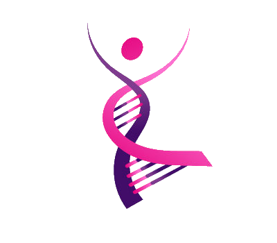 Logo of the network. A dancing DNA lady with soft purple and pink gradients,