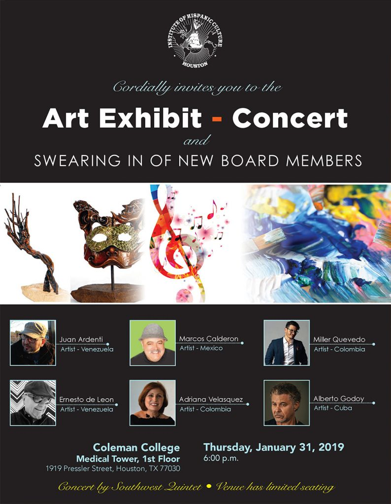 Art Exhibit - Concert and Swearing in of New Board Members @ COLEMAN COLLEGE
