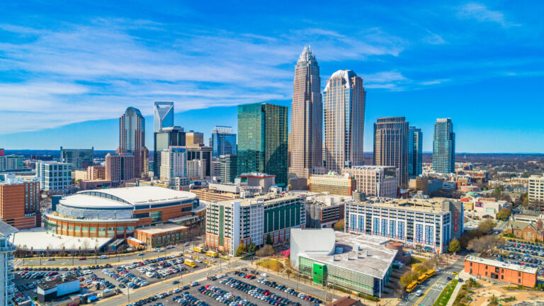 Aerial of Downtown Charlotte, North Carolina, USA