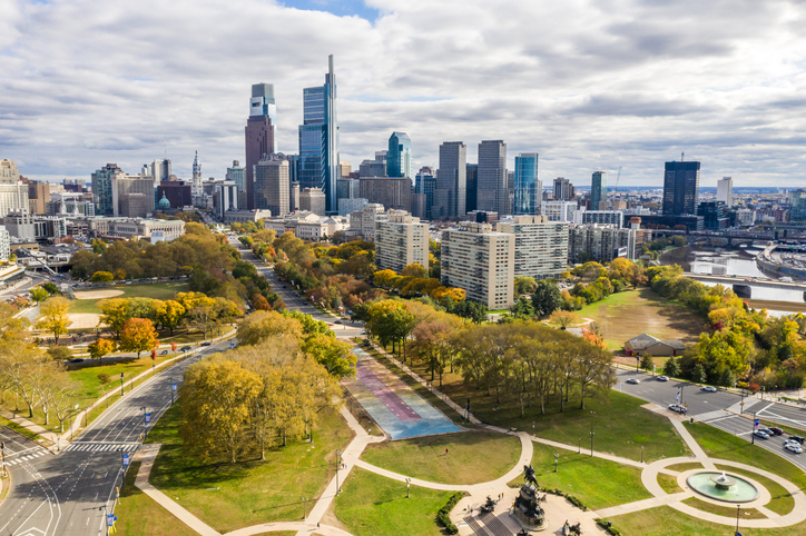 Drone view on the Philadelphia Skyline