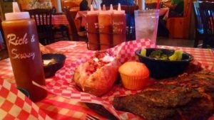 Famous Dave's Ribs Dinner and Sauces