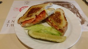 Sugar Bowl's Three Cheese & Tomato on Grilled Sourdough Bread