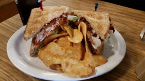 The Iron Kettle's Turkey Club with Kettle Chips