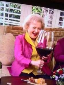 Betty White enjoys her one glass of Wine.