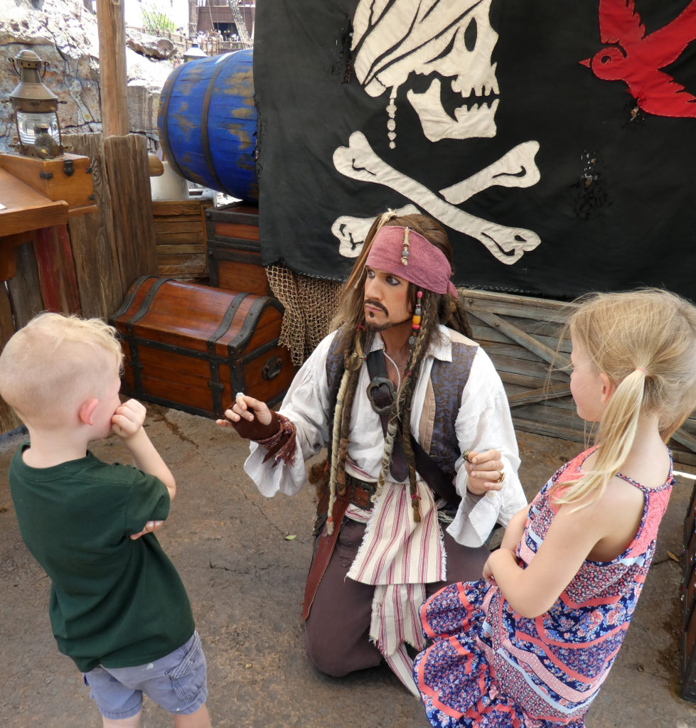 New Pirates, Pirates of the Caribbean, Traveling with kids, family travel, diapers on a plane, Jack Sparrow, Battle for Sunken Treasure, Barbosa, Kracken