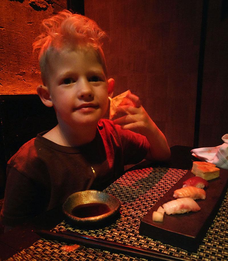Kids Sushi at Ninja Restaurant in Tokyo
